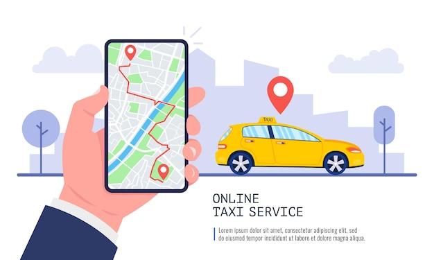 Mężczyzna rezerwujący samochód na smartfonie z mapą. aplikacja taxi na ekranie. koncepcja usługi taxi