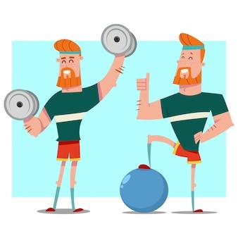 Mężczyzna robi ćwiczeń fitness z hantlami, fit ball, hula hop. facet kreskówka wektor zestaw znaków.