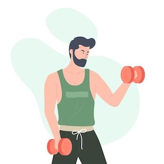 Mężczyzna robi ćwiczenia z hantlami ilustracją
