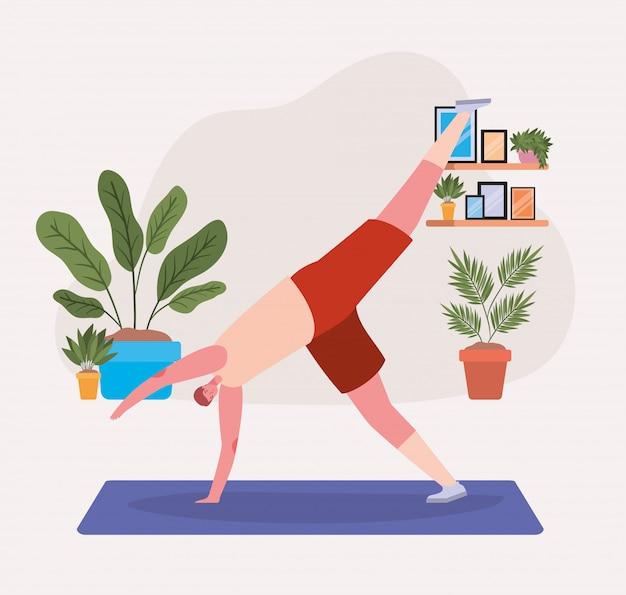 Mężczyzna robi joga na macie