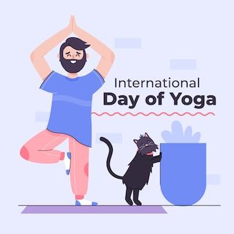 Mężczyzna robi joga w domu