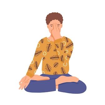 Mężczyzna robi płaską ilustrację jogi