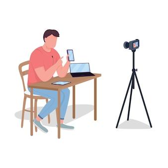 Mężczyzna robi recenzję wideo płaski kolor bez twarzy. obserwowanie nowych urządzeń. filmowanie filmów o technologiach. blogger ilustracja kreskówka na białym tle