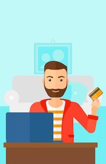 Mężczyzna robi zakupy online