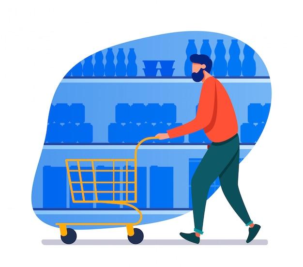 Mężczyzna robi zakupy w supermarkecie