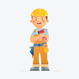 Mężczyzna robotnik budowlany