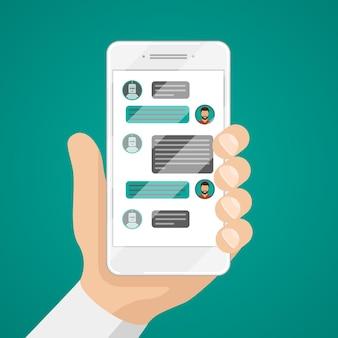 Mężczyzna rozmawia z chatbotem na ilustracji smartfona.