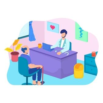 Mężczyzna rozmawia z lekarzem kobietą w biurze. pacjent ma konsultację dotyczącą objawów choroby z lekarzem terapeutą w szpitalu.