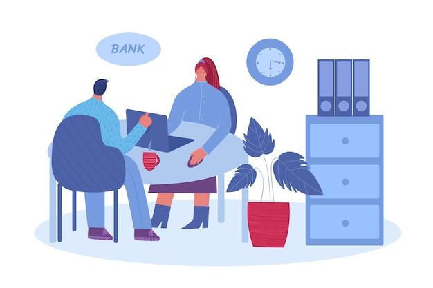 Mężczyzna rozmawia z menedżerem. pracownik banku doradza mężczyźnie. ilustracja na białym tle.