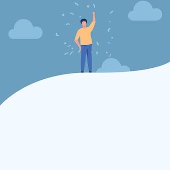 Mężczyzna rysunek podnoszący rękę do nieba stojący na szczycie wzgórza pokazujący sukces dżentelmena stoi