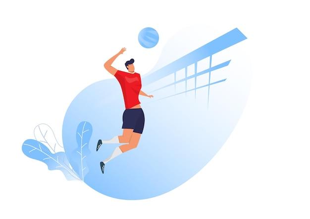 Mężczyzna siatkarz skoki służąc piłkę