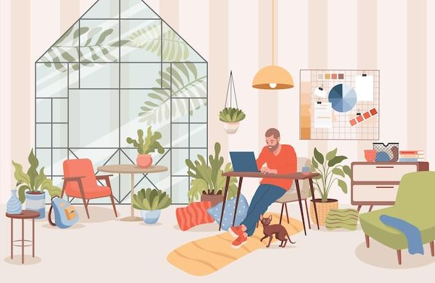 Mężczyzna siedzący w domu i pracujący na odległość z wektorem laptopa
