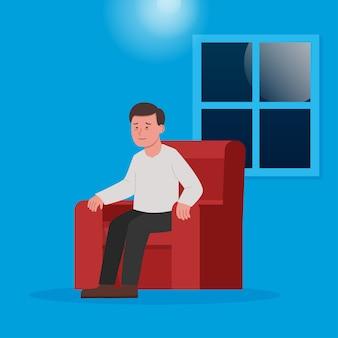 Mężczyzna siedzący w fotelu bezsenność przyczyną bezsenności ilustracja płaski