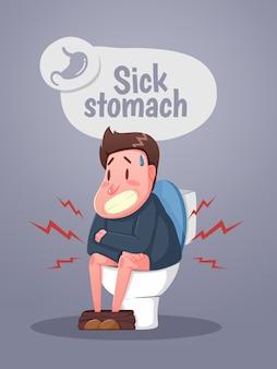 Mężczyzna siedzący w toalecie z rozstrojem żołądka i biegunką. postać siedząca na toalecie. wektor