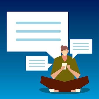 Mężczyzna siedzący za pomocą ilustracji smartfona, ludzi i gadżetów
