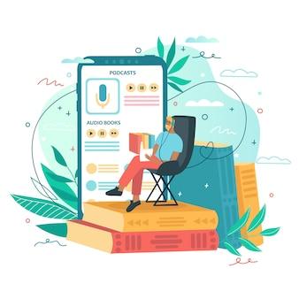Mężczyzna siedzi i czyta książki. aplikacja audio książki online, smartfon i kolorowe książki w tle. koncepcja aplikacji mobilnej do czytania. ilustracja do strony docelowej, interfejsu użytkownika, aplikacji.
