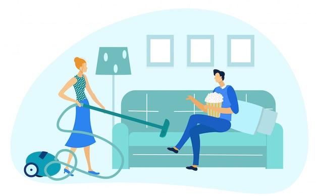 Mężczyzna siedzi na kanapie, kobieta odkurzanie pokoju wektor.
