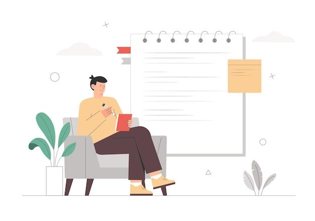 Mężczyzna siedzi na krześle, pisze i robi notatki obok wielkiego notatnika