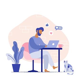 Mężczyzna siedzi na krześle pracuje na laptopie. domowe miejsce pracy freelancer. wektorowa płaska ilustracja.