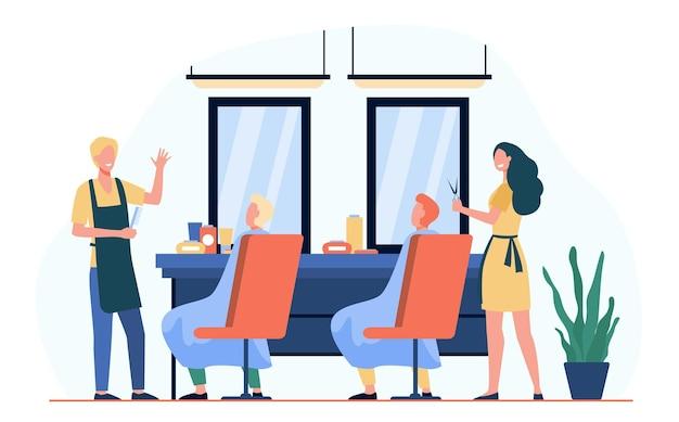 Mężczyzna siedzi na krześle w fryzjera na białym tle płaskie ilustracja. kreskówka fryzjerzy robi fryzurę dla klientów