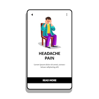 Mężczyzna siedzi na krześle z bólem głowy