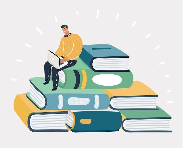 Mężczyzna siedzi przy stosie książek
