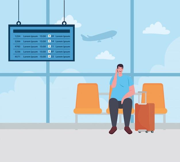 Mężczyzna siedzi w fotelu na terminalu lotniska, pasażer na terminalu lotniska z bagażem wektor ilustracja projekt