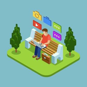 Mężczyzna siedzi w parku i pracuje z laptopem w stylu płaski.