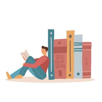 Mężczyzna siedzi w pobliżu stosu dużych książek, aby poczytać książkę. płaska ilustracja wektorowa
