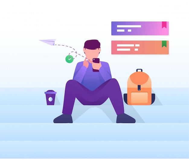 Mężczyzna siedzi w schodkach bawić się mobilną płaską ilustrację