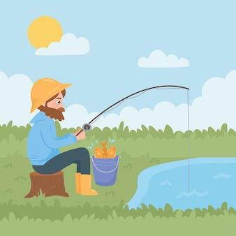 Mężczyzna siedzi, wędkowanie w rzece, siedząc na trawie