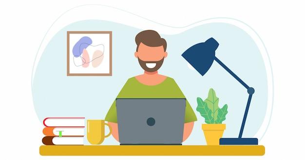 Mężczyzna siedzi z laptopem na kanapie w domu. praca na komputerze. płaska konstrukcja koncepcja pracy w domu