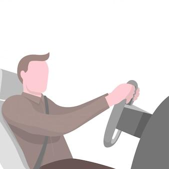 Mężczyzna siedzi za kierownicą samochodu