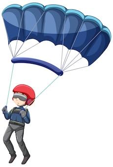 Mężczyzna skaczący na spadochronie na białym tle