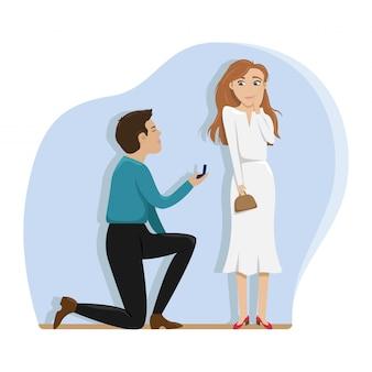 Mężczyzna składa ofertę poślubienia dziewczyny na jednym kolanie.