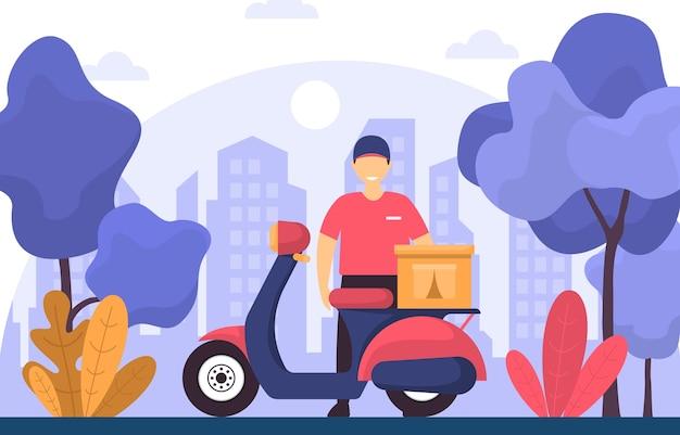Mężczyzna skuter motocykl ekspresowa dostawa usługi dostawy żywności ilustracja