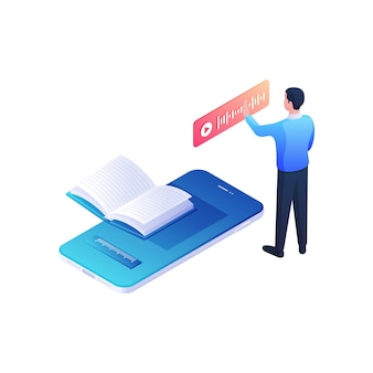 Mężczyzna słucha książki internetowej poprzez izometryczną ilustrację aplikacji mobilnej. męska postać naciska czerwony playbar następny niebieski smartfon z objętością otwartej książki. wygodna koncepcja platformy multimedialnej.