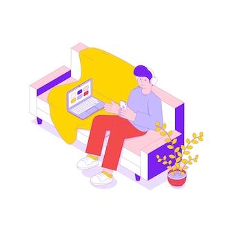 Mężczyzna słucha muzyki w słuchawkach siedząc na izometrycznej ilustracji sofy 3d
