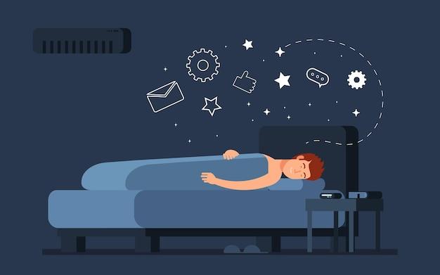 Mężczyzna spać w domu w sypialni