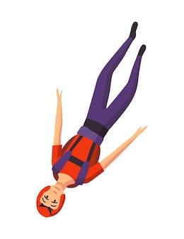 Mężczyzna spadochroniarz latający ze sprzętem sportowym. skoki spadochronowe sport ekstremalny. paralotnia skacząca postać na białym tle. aktywne hobby sportowiec skoki