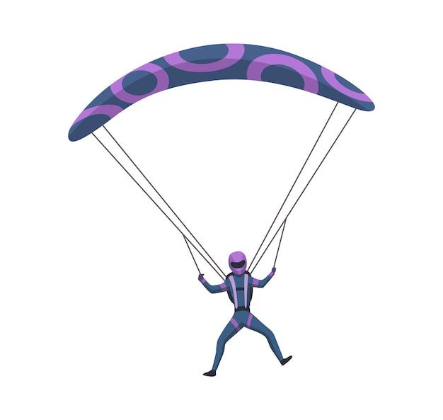 Mężczyzna spadochroniarz latający ze sprzętem sportowym. skoki spadochronowe sport ekstremalny. skoki spadochronowe charakter na białym tle. aktywne hobby sportowiec skoki