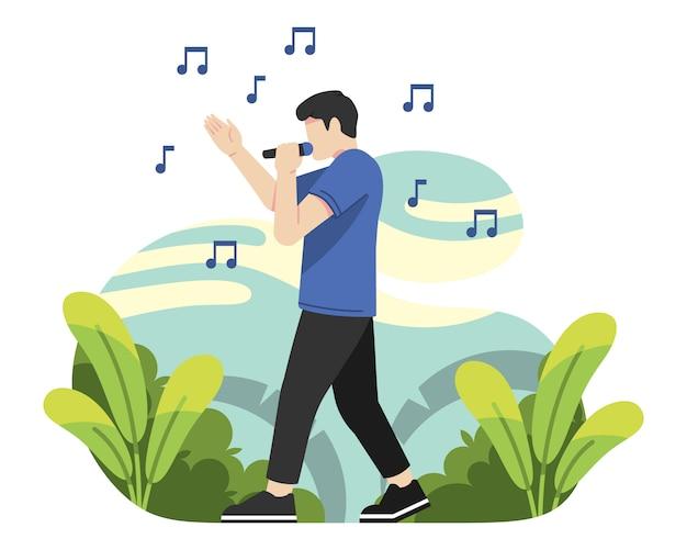 Mężczyzna śpiewa w ilustracji wektorowych na zewnątrz
