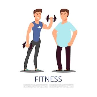 Mężczyzna sporty i tłuściuchny mężczyzna odizolowywający