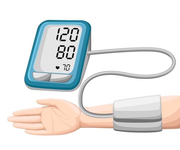 Mężczyzna sprawdza ciśnienie tętnicze krwi. cyfrowy tonometr do urządzenia. wyposażenie medyczne. diagnozuj nadciśnienie, serce. mierzenie, monitorowanie zdrowia. koncepcja opieki zdrowotnej. ilustracja.