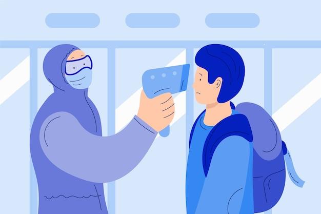 Mężczyzna sprawdza temperaturę ciała