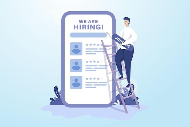 Mężczyzna stawia dołączyć do nas tablicę do zatrudniania koncepcji ilustracji rekrutacji