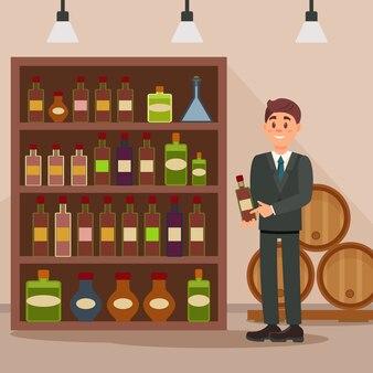 Mężczyzna stoi blisko półki z napojami alkoholowymi. konsultant-sprzedawca sklepu monopolowego. płaska konstrukcja