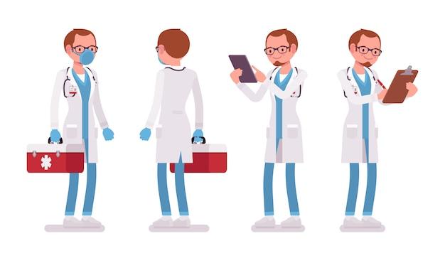 Mężczyzna stojący poza lekarza