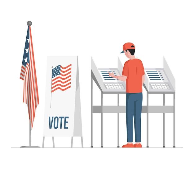 Mężczyzna stojący w pobliżu stanowisk do głosowania, wypełnia karty do głosowania, głosuje i wybiera ilustrację kandydatów.