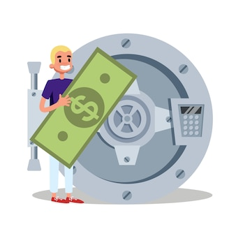 Mężczyzna stojący w sejfie pieniędzy. idea lokaty bankowej